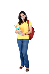 Portrait of young Indian student, isolated on white background