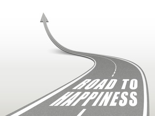 road to happiness words on highway road