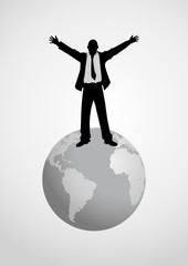 A man figure standing on globe with open arms