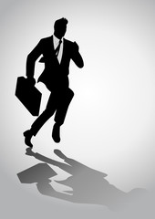 A businessman running with a briefcase