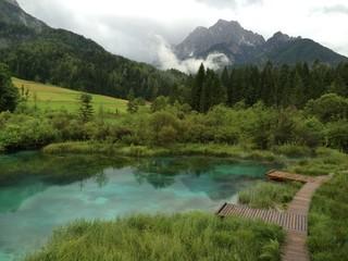 beautiful lake in triglav national park, slovenia