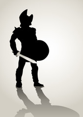 Silhouette of a gladiator holding a shield and sword