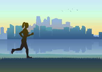 Female figure jogging with cityscape as the background