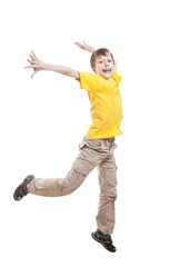 Funny little child in t-shirt jumping and laughing