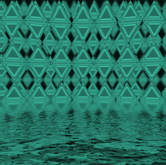 Green triangles reflected in water surface.