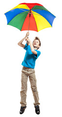 Beautiful funny boy in t-shirt holding a multicolored umbrella
