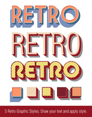Retro Text Graphic Styles - with graphic styles library
