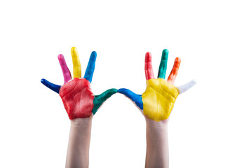 Child's hands painted with multicolored finger paints