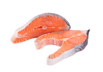 Two fresh salmon steaks.