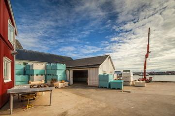 Norwegia, Lofoty, fragment przetwórni ryb