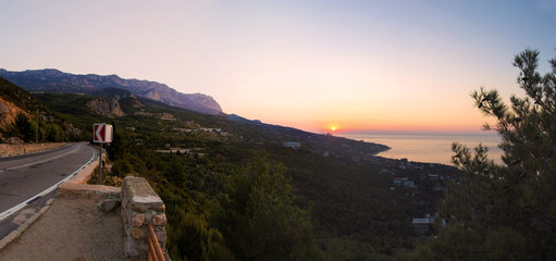 Sunrise in Simeiz, Yalta, Crimea, Ukraine, summer
