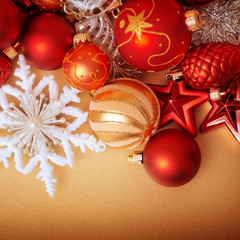 Christmas decoration on gold background