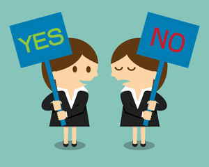 Businesswoman holding a signboard with the word yes or no