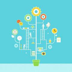 Growing Development Tree. Concept Illustration