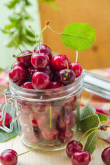 Fresh fruit cherries jar for products processed