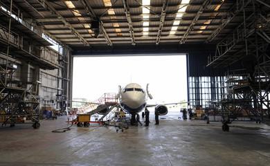 Airplane in hangar