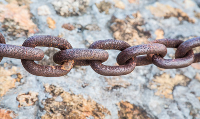 Heavy Rusty Chain Over Stone Wall