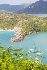 Sailboats in Aqua Bay of Antigua