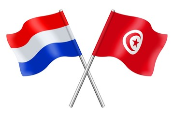 Flags : the Netherlands and Tunisia