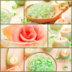 Wellness collage floral water bath salt spa series collage