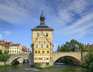 Old Town architecture with City Hall building in Bamberg