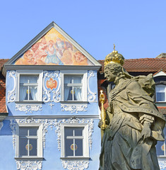 Bamberg empress Kunigunde statue and facades historic buildings