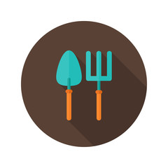 Gardening Fork and Trowel flat icon