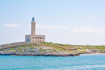 a lighthouse in the beautiful sunny day in Vieste Italy