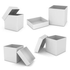 Opened White Cardboard Package Box.