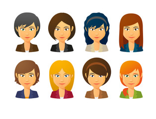 Female avatars wearing suit  with various hair styles