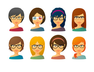 Female avatars wearing glasses  with various hair styles