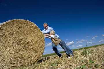 Father and son (7-9) pushing bale of hay in field (tilt)