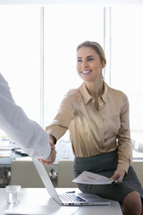 Smiling businesswoman shaking businessman's hand in office