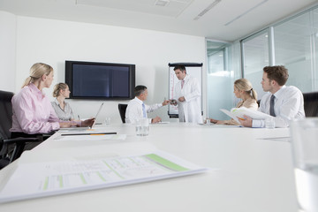 Engineer in lab coat leading meeting with business people in conference room