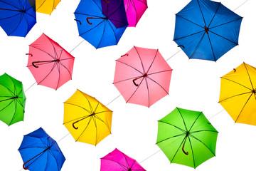 Opened umbrellas isolated on white background