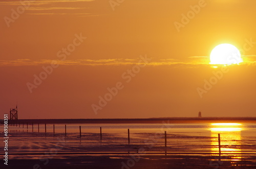 canvas print picture Sonnenuntergang Nordsee 2
