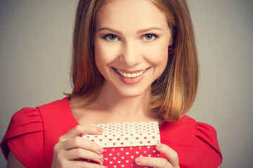 beauty girl  with gift box to birthday or Valentine's Day