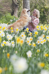 Woman playing with dog in sunny daffodil field