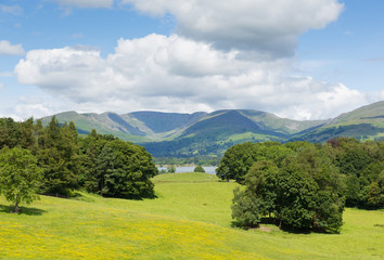View from Wray Castle Lake District Cumbria to Langdale Valley