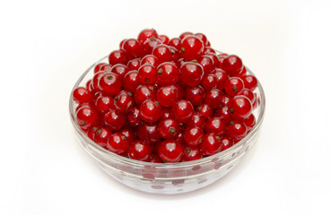 fresh red currants in a glass bowl