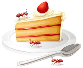Cake and ants
