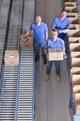Portrait of smiling workers packing boxes on conveyor belts in distribution warehouse