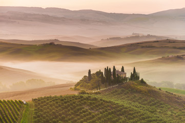 Rural landscape of Tuscany on a hazy sunny morning