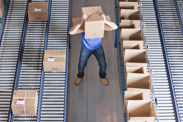 Worker with box covering head near conveyor belts in distribution warehouse