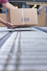 Hands of worker packing box on conveyor belt in distribution warehouse