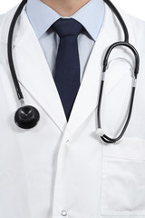 Close up of a doctor coat and stethoscope