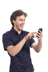 Funny man browsing social media in a touch screen smart phone