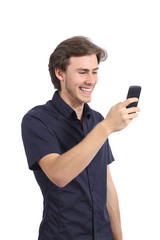 Funny man laughing using a smart phone