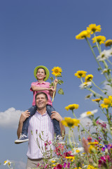 Smiling father carrying daughter on shoulders in sunny meadow with wildflowers