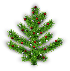 Christmas tree over white background.